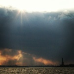 The Statue of Liberty Beneath the Clouds